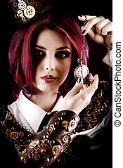clock time - Girl in a stylized steampunk costume posing on...