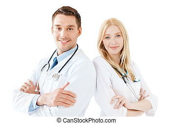 young male doctor and female nurse in hospital - healthcare...