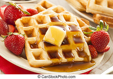 Homemade Belgian Waffles with Fruit - Homemade Belgian...