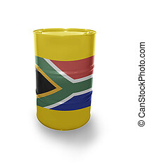Barrel with South Africa flag on the white background