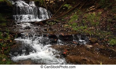 Wagner Falls in Michigan Loop - Whitewater flows over Wagner...