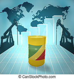 Oil barrel with Republic of the Congo flag on the background...