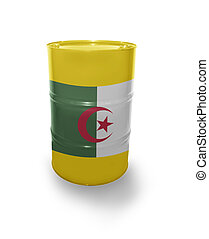 Barrel with Algerian flag on the white background