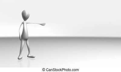 1085 CG Animated Business Character Doing Presentation blank...