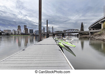 Moorage at Portland Downtown Waterfront on the Willamette...