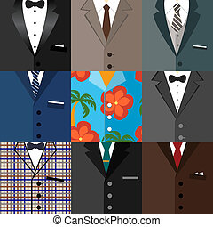 Business decorative icons set of suits - Business decorative...
