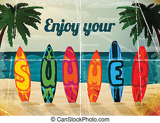 Summer vacation surfboard poster, tropical paradise island...