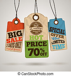 Collection of cardboard sale price tags design templates...