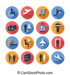 Colored airport icons set - Colored airport transportation...