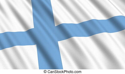Flag of Finland, seamless loop - Flag of Finland waving in...