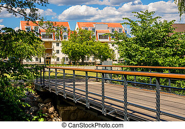Residential district. Norrkoping, Sweden - Bridge and...