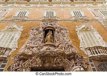 Valencia Palacio Marques de Dos Aguas palace facade in...