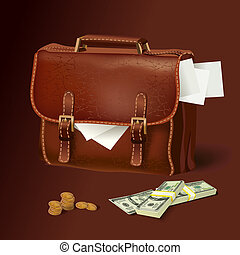 Leather briefcase with documents and money