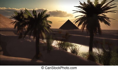 (1072) Desert oasis sunset, palms and Pyramid - Desert oasis...