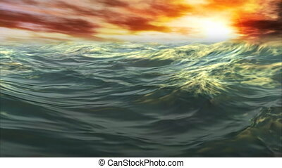 (1078) Sunset Waves Ocean - Sail this sunset ocean scene...