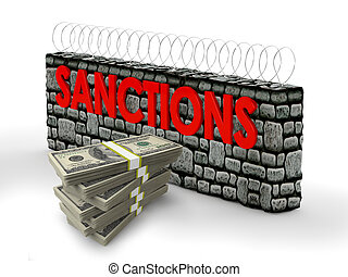 sanctions - packs of dollars and the wall with the...