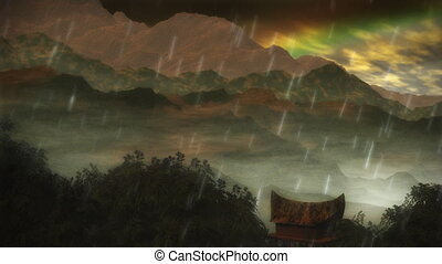 1075 Jungle Rain Storm Rainbow - Asian or Amazon rain forest...
