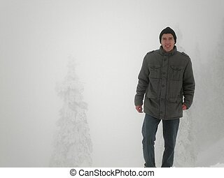 Man Smiling in Blizzard