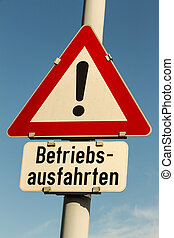 sign operation exits - traffic sign caution operating exits...