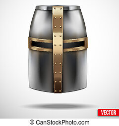 Crusader Knights Helmet Vector Background - Crusader...