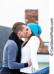 Couple on the ice rink - Beautiful, attractive couple on the...