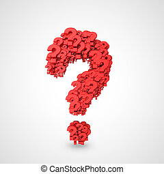 many red question mark symbol on a white background