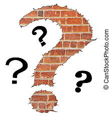 question mark symbol on a brick wall background