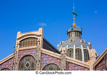 Valencia Mercado Central market outdoor dome Spain -...