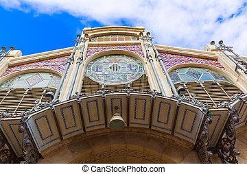 Valencia Mercado Central market facade Spain - Valencia...