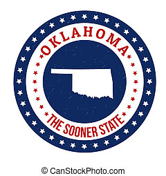 Oklahoma stamp - Vintage stamp with text The Sooner State...