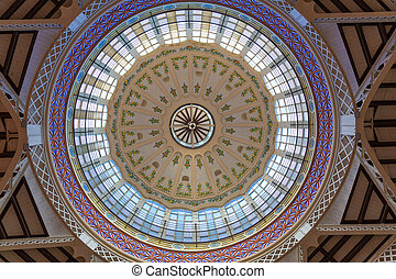 Valencia Mercado Central market dome indoor detail Spain -...