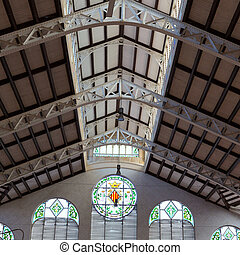 Valencia Mercado Central market indoor detail Spain -...