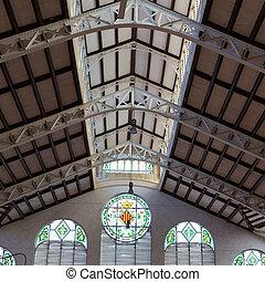 Valencia Mercado Central market indoor detail Spain -...