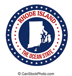 Rhode Island stamp - Vintage stamp with text The Ocean State...