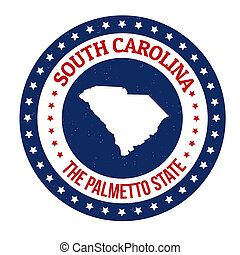 South Carolina stamp - Vintage stamp with text The Palmetto...