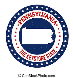 Pennsylvania stamp - Vintage stamp with text The Keystone...