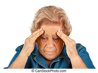 Elderly woman with headaches - Elderly woman touching her...