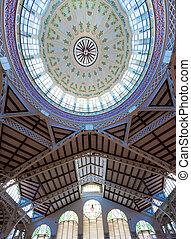 Valencia Mercado Central market dome indoor detail Spain -...