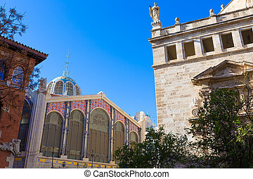 Valencia Mercado Central market and Santos Juanes chuch in...