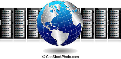 Network Servers with Globe - Row of Network Servers with...