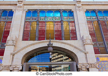 Valencia Mercado Central market rear facade Spain - Valencia...