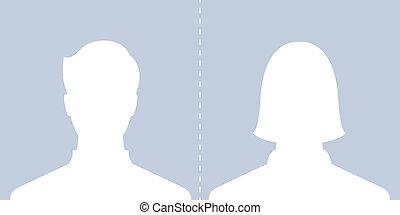 macho, femininas, perfil, quadro