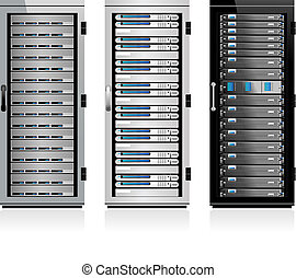 Servers - Three Servers - Server in Cabinets