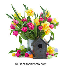 spring flowers for easter - spring flowers with eggs and...