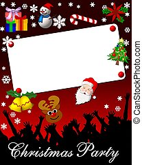 christmas party placard card red