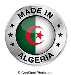Made In Algeria - Made in Algeria silver badge and icon with...