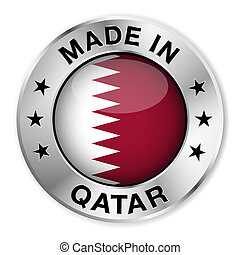 Made In Qatar - Made in Qatar silver badge and icon with...