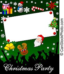 christmas party placard card green