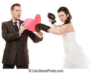 corazón, novio, boxeo, pareja, novia, boda