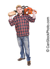 woodcutter - happy woodcutter with saw over white background...